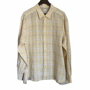 Tommy Bahama Yellow Plaid Linen Button Up - XL